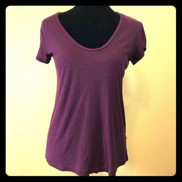 James Perse Tops - James Perse Plum Colored Scoop Neck T-shirt